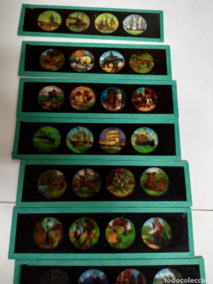 Antigüedades: Caja con 12 cristales linterna mágica - Foto 4 - 222158246