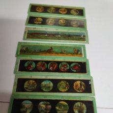 Antigüedades: 8 PEQUEÑOS CRISTALES LINTERNA MÁGICA DE 3'5 X 13 CM.. Lote 222160391