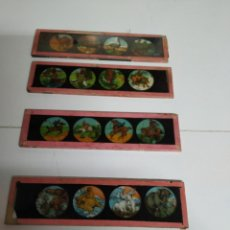 Antigüedades: 5 CRISTALES DOBLES DE LINTERNA MÁGICA. Lote 222161242