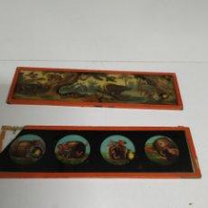 Antigüedades: 2 CRISTALES DE LINTERNA MÁGICA DE 20 X 6 CM.. Lote 222161818