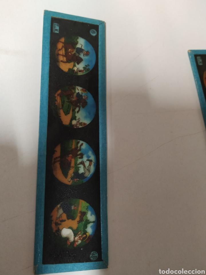 Antigüedades: 2 cristales linterna mágica de 17 x 4 ,5 cm - Foto 2 - 222162178