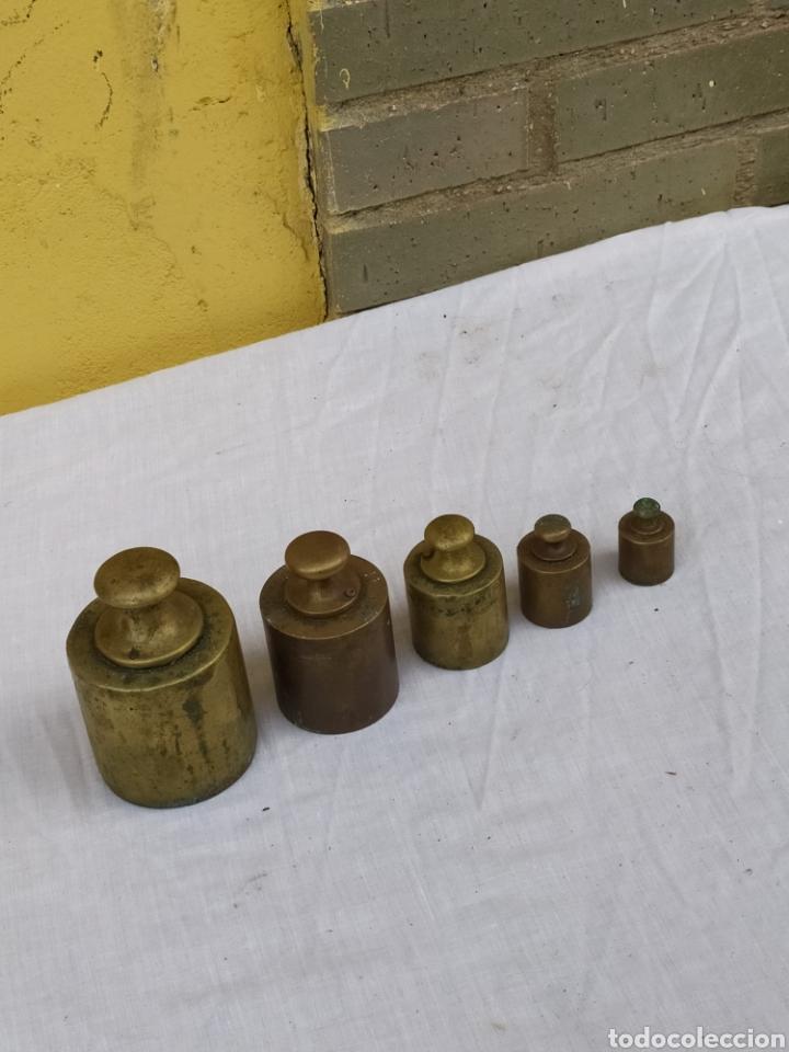 ANTIGUO JUEGO DE PESOS DE BRONCE PARA BALANZA (Antigüedades - Técnicas - Medidas de Peso Antiguas - Otras)