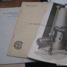 Antigüedades: 4 CATALOGO GENERADOR DE VAPOR Y AGUA CALIENTE . CALDERA ELECTRICA BROWN BOVERI 1934. Lote 222282642