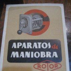 Antigüedades: CATALOGO APARATOS DE MANIOBRA ROTOR 1950 - MATERIAL ELECTRICO. Lote 222284123