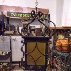 Antigüedades: GRAN FAROL DE HIERRO FORJADO MUY TRABAJADO ANTIGUO. Lote 222308032