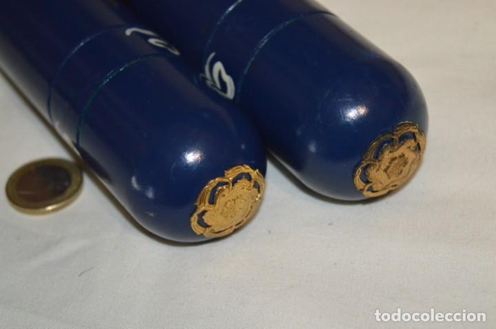 Antigüedades: Antiguo y curioso envase/estuche de madera en forma cilíndrica, para agujas de punto - ¡Mira! - Foto 6 - 222326483