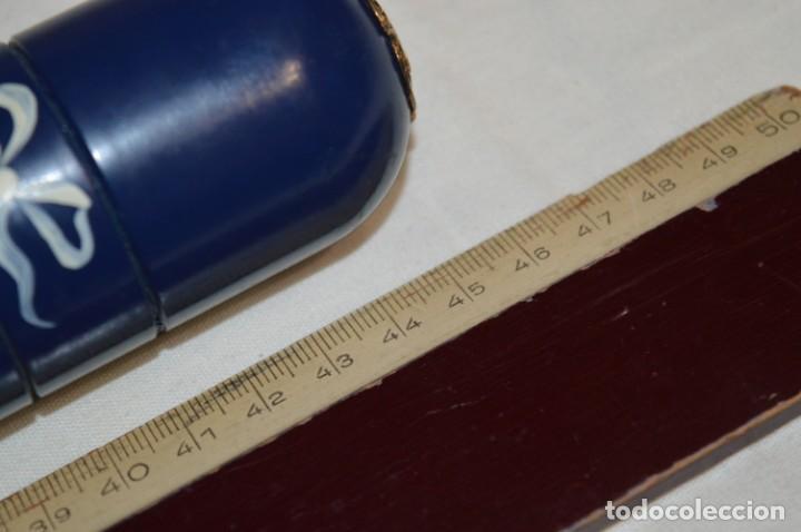 Antigüedades: Antiguo y curioso envase/estuche de madera en forma cilíndrica, para agujas de punto - ¡Mira! - Foto 7 - 222326483