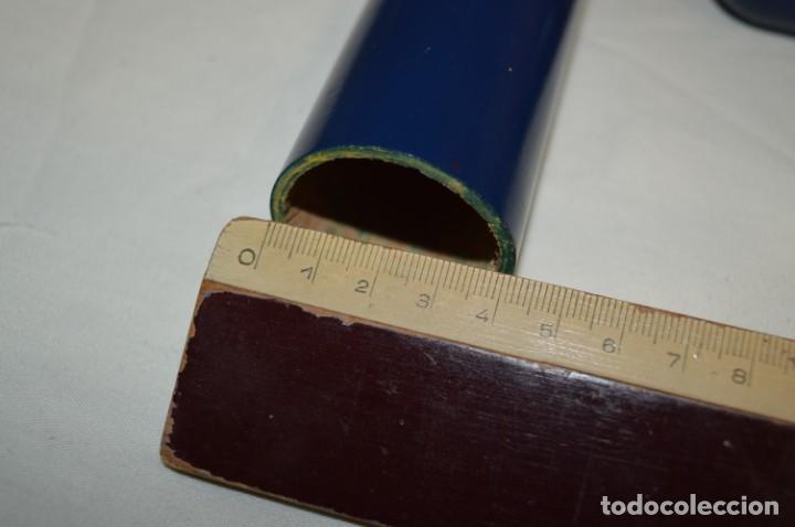 Antigüedades: Antiguo y curioso envase/estuche de madera en forma cilíndrica, para agujas de punto - ¡Mira! - Foto 8 - 222326483
