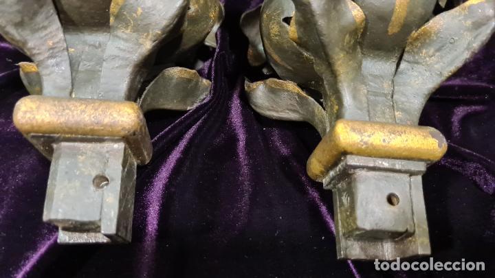 Antigüedades: REMATES FLORALES EN HIERRO FORJADO MODERNISTA - Foto 4 - 222351668