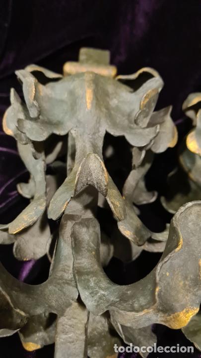 Antigüedades: REMATES FLORALES EN HIERRO FORJADO MODERNISTA - Foto 5 - 222351668