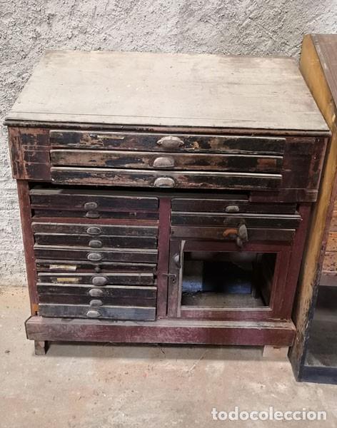 CHIBALETE - CAJONERA - MUEBLE DE IMPRENTA CON CAJONES (Antigüedades - Técnicas - Herramientas Profesionales - Imprenta)