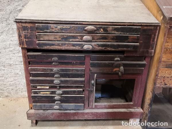 Antigüedades: CHIBALETE - CAJONERA - MUEBLE DE IMPRENTA CON CAJONES - Foto 4 - 222356535