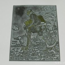Antigüedades: (M) PLANCHA DE ZINC - ILUSTRADA POR LOLA ANGLADA, 10X 13CM, SEÑALES DE USO NORMALES. Lote 222357350