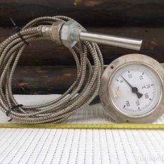 Antigüedades: TERMOMETRO INDUSTRIAL INDICADOR, ESCALA DE 0 - 150ºC CON VAINA SENSOR DE 2,5M DE LA FIRMA WEC. INOX. Lote 222381035