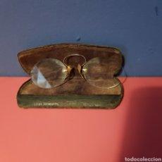 Antigüedades: ANTIGUOS BINÓCULOS EN SU ESTUCHE ORIGINAL. MONTURA DE ORO.. Lote 222385057