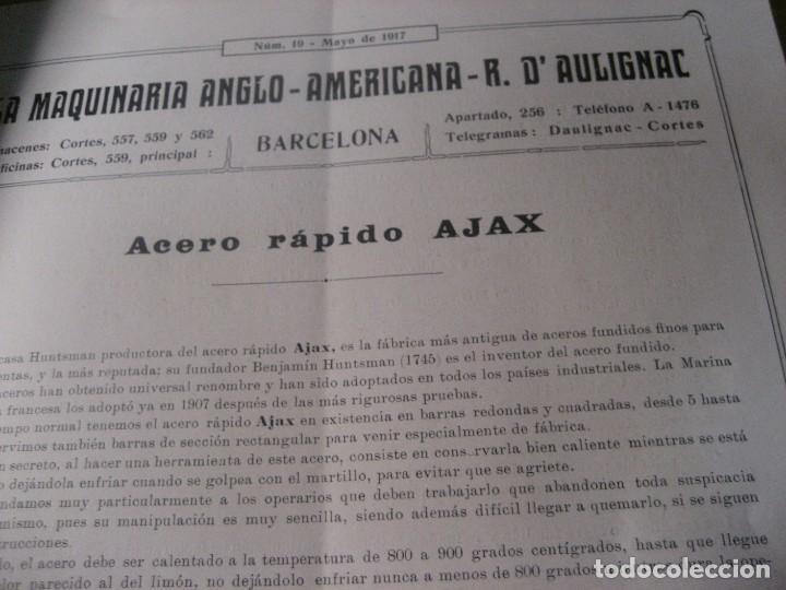 Antigüedades: catalogo 19 seccion de aceros . maquinaria anglo americana daulignac . 1917 - Foto 3 - 222390020