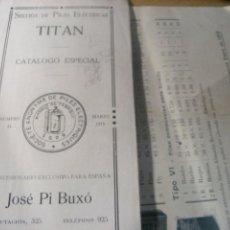 Antigüedades: CATALOGO SECCION PILAS ELECTRICAS TITAN JOSE PI Nº 44 AÑO 1915 Y HELLESEN TARIFAS. Lote 222390573