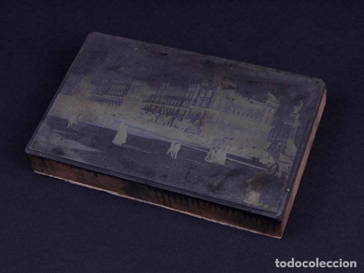 ZINCOGRABADO, CLICHE PARA IMPRESION. PASEO JUNTO EDIFICIO (Antigüedades - Técnicas - Herramientas Profesionales - Imprenta)