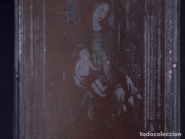 Antigüedades: ZINCOGRABADO, CLICHE PARA IMPRESION. ESTAMPA DE LA VIRGEN CON NIÑO JESUS - Foto 2 - 222416070
