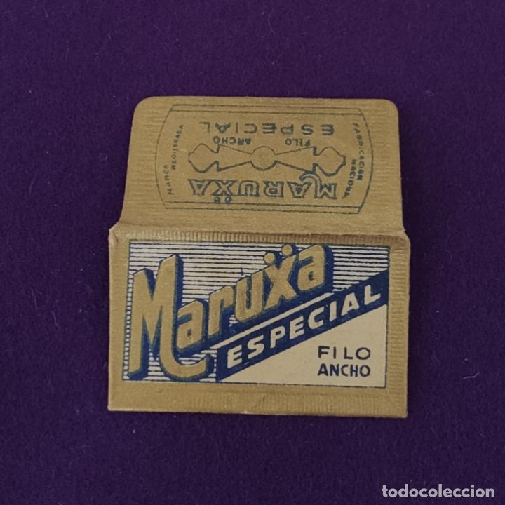 FUNDA Y HOJA DE HOJA DE CUCHILLA DE AFEITAR ANTIGUA. MARUXA ESPECIAL FILO ANCHO. (Antigüedades - Técnicas - Barbería - Hojas de Afeitar Antiguas)