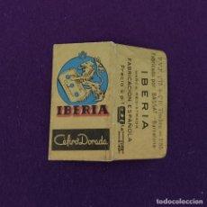 Antigüedades: FUNDA DE HOJA DE CUCHILLA DE AFEITAR ANTIGUA. IBERIA CEFIRO DORADA.. Lote 222457065