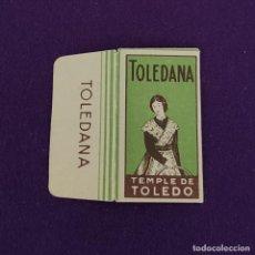 Antigüedades: FUNDA DE HOJA DE CUCHILLA DE AFEITAR ANTIGUA. TOLEDANA TEMPLE DE TOLEDO.. Lote 222457665