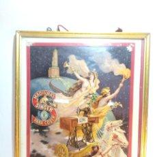 Antigüedades: MUY BELLO CARTEL LITOGRAFIADO CON PUBLICIDAD DE MÁQUINAS SINGER DE COSER. S. DURÁ. VALENCIA.. Lote 222504577