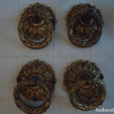 Antigüedades: 4 TIRADORES PRINCIPIOS S. XX EN BRONCE DORADO.. Lote 222571240
