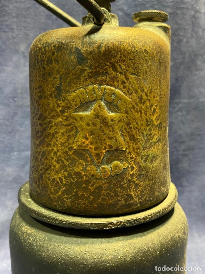 Antigüedades: lampara carburo minero mineria mina francia fin s xix ppio xx bronce hierro ver fotos 21x10cms - Foto 6 - 222622797