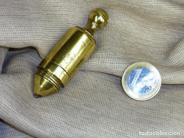 Antigüedades: Plomada Instrumental SIN Nuez. Cilindro Cono. Cabeza roscada. Plumb bob WITHOUT Nut. Threaded head. - Foto 3 - 222659795