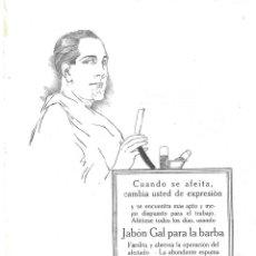 Antigüedades: 1923 HOJA REVISTA PUBLICIDAD ANUNCIO DE PRENSA PERFUMERÍA GAL JABÓN GAL PARA LA BARBA. Lote 222735038
