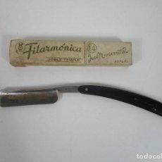 Antigüedades: NAVAJA DE BARBERO - FILARMÓNICA 14, DOBLE TEMPLE - JOSÉ MONTSSERRAT POU. Lote 222796866