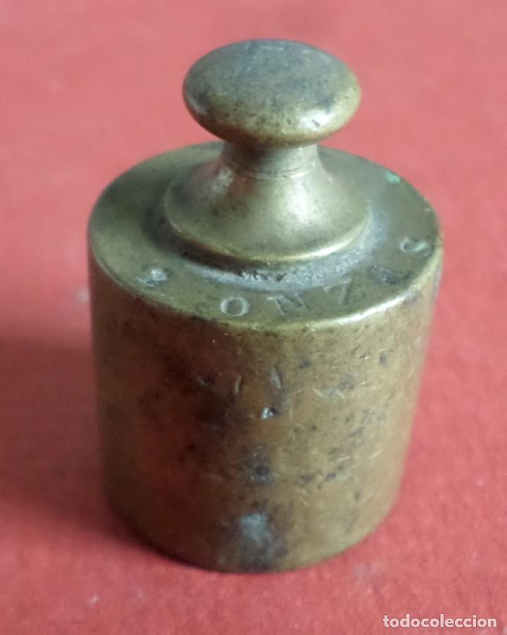 PESA BRONCE 50 GR. -- 2 ONZAS (Antigüedades - Técnicas - Medidas de Peso Antiguas - Otras)