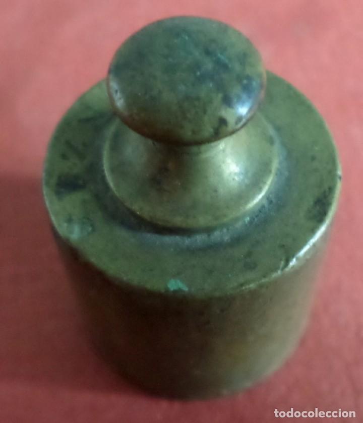 Antigüedades: Pesa bronce 50 gr. -- 2 onzas - Foto 5 - 222802476