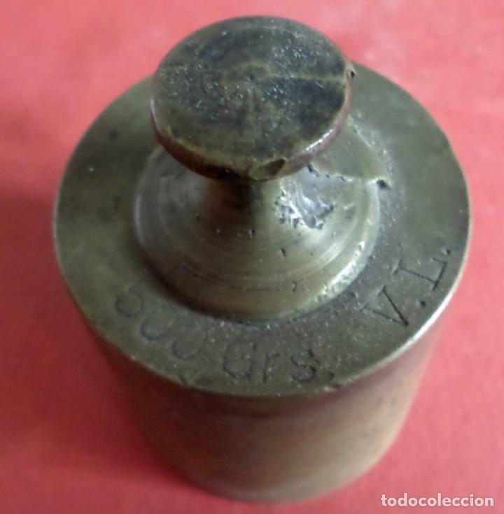 Antigüedades: Pesa bronce 500 gr. --- 500 Grs V.L. - Foto 4 - 222803307