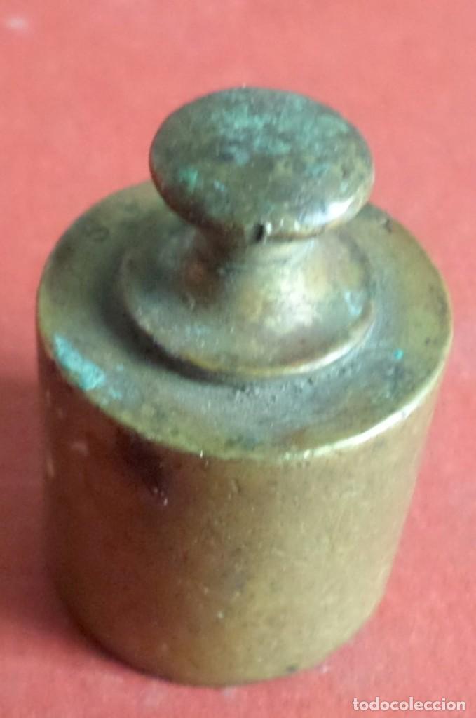 Antigüedades: Pesa bronce 100 gr.--- 4 onzas - Foto 2 - 222803573