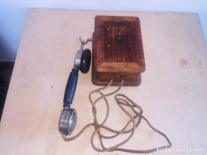 "TELEFONO MADERA MURAL "" LA TELEPHONIE INTEGRALE "" (Antigüedades - Técnicas - Teléfonos Antiguos)"