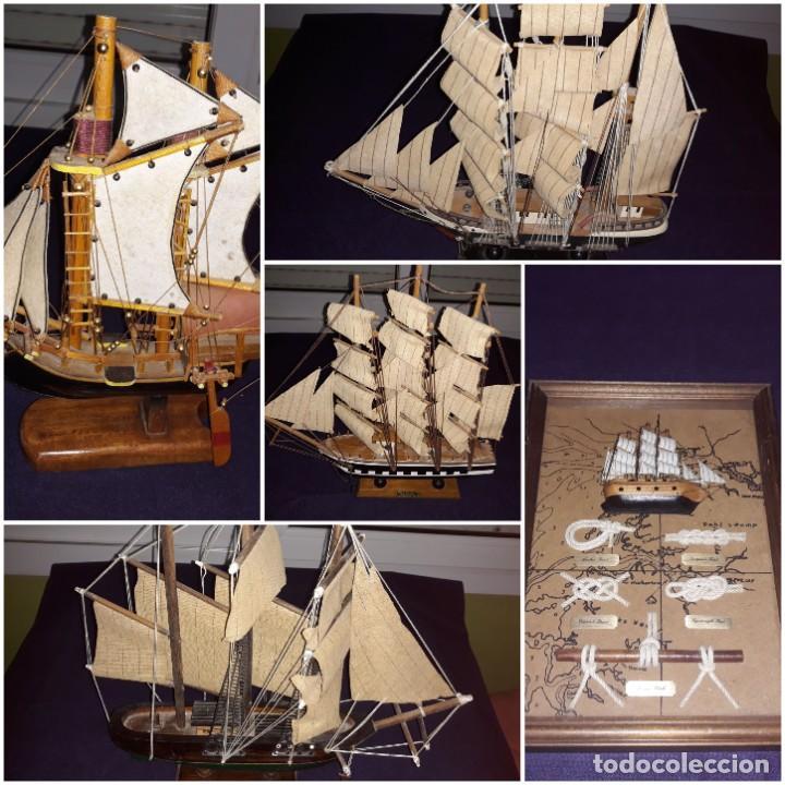 LOTE 12 MAQUETAS BARCOS Y 1 CUADRO BARCO NUDOS (Antigüedades - Antigüedades Técnicas - Marinas y Navales)