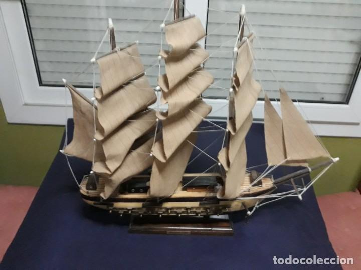 Antigüedades: Lote 12 Maquetas Barcos y 1 Cuadro Barco Nudos - Foto 2 - 223380707
