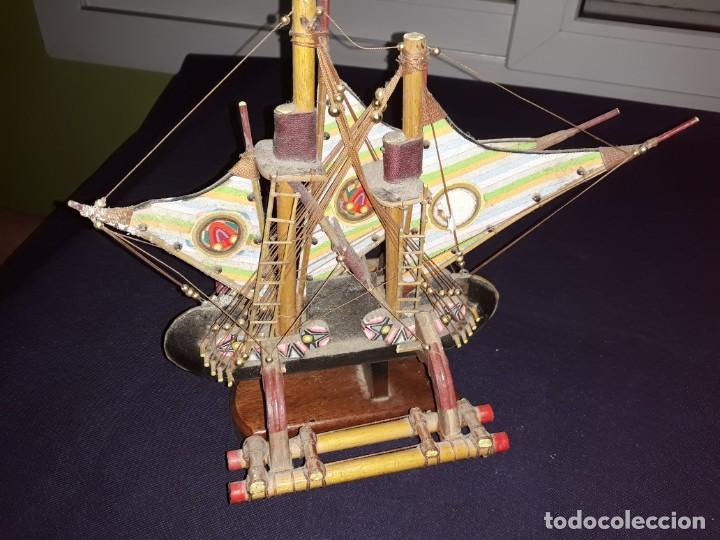Antigüedades: Lote 12 Maquetas Barcos y 1 Cuadro Barco Nudos - Foto 14 - 223380707