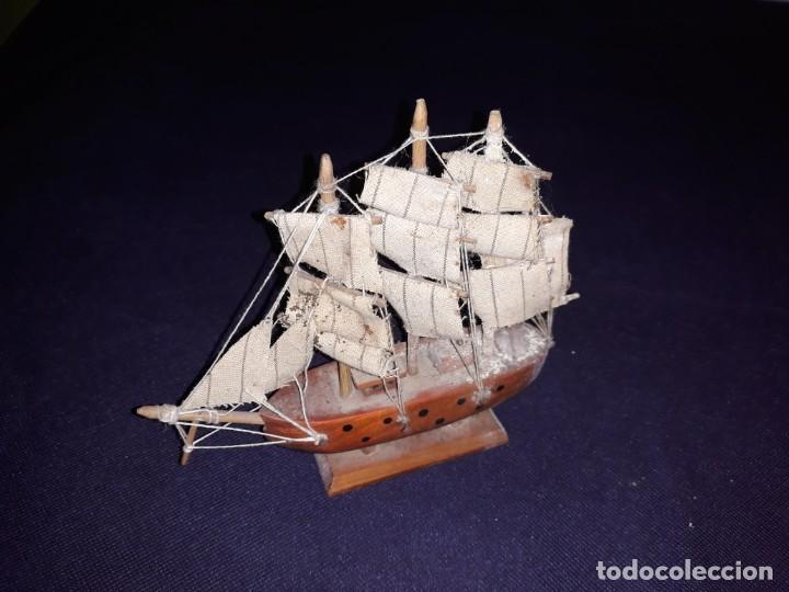 Antigüedades: Lote 12 Maquetas Barcos y 1 Cuadro Barco Nudos - Foto 19 - 223380707