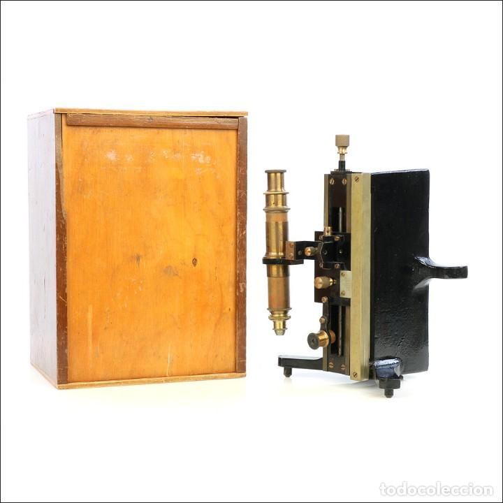 ANTIGUO MICROSCOPIO TIPO VERNIER, PHILIP HARRIS. INGLATERRA, CIRCA 1920 (Antigüedades - Técnicas - Instrumentos Ópticos - Microscopios Antiguos)