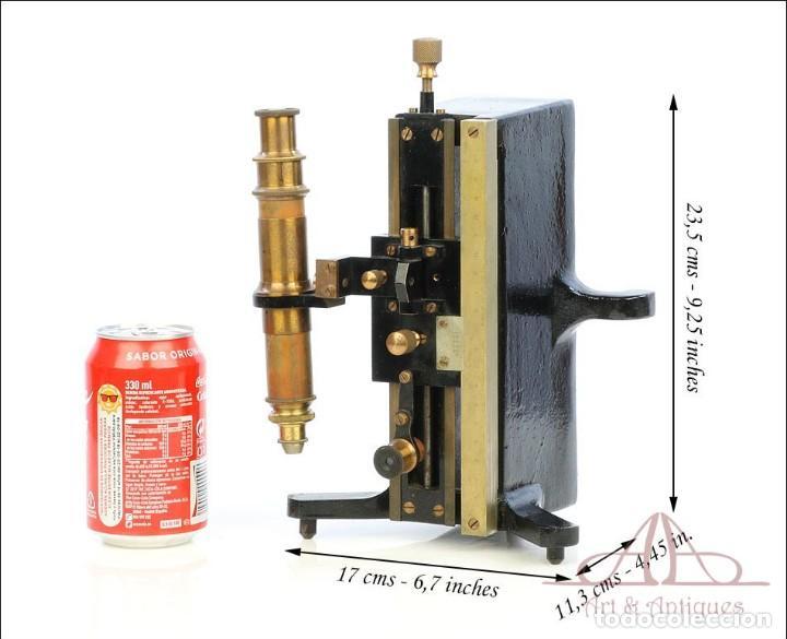 Antigüedades: Antiguo Microscopio Tipo Vernier, Philip Harris. Inglaterra, Circa 1920 - Foto 2 - 223388028