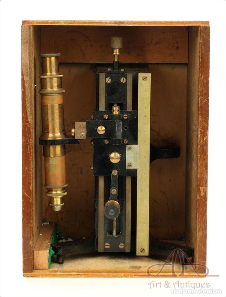 Antigüedades: Antiguo Microscopio Tipo Vernier, Philip Harris. Inglaterra, Circa 1920 - Foto 4 - 223388028