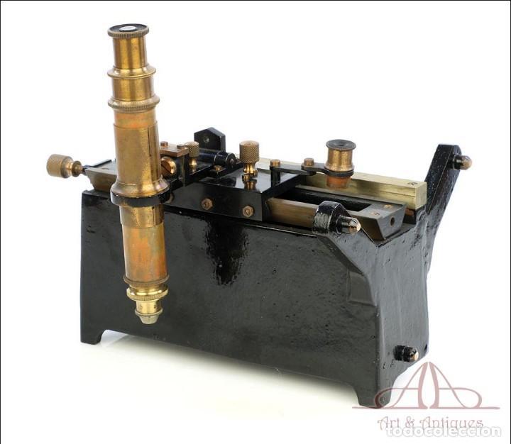 Antigüedades: Antiguo Microscopio Tipo Vernier, Philip Harris. Inglaterra, Circa 1920 - Foto 5 - 223388028