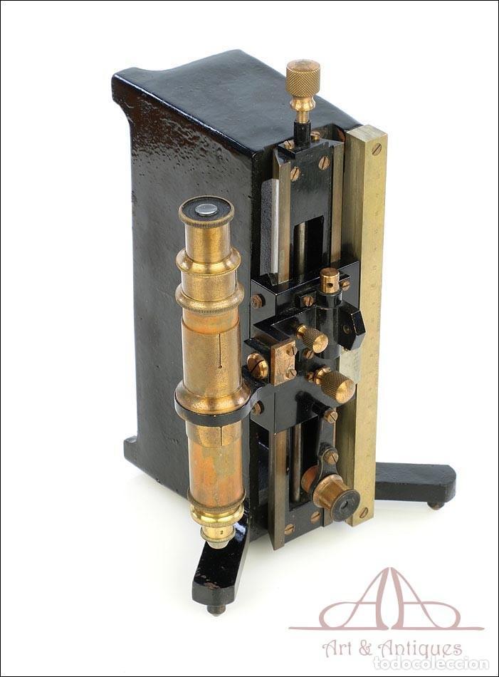 Antigüedades: Antiguo Microscopio Tipo Vernier, Philip Harris. Inglaterra, Circa 1920 - Foto 6 - 223388028