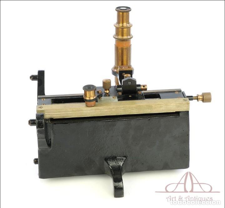 Antigüedades: Antiguo Microscopio Tipo Vernier, Philip Harris. Inglaterra, Circa 1920 - Foto 9 - 223388028