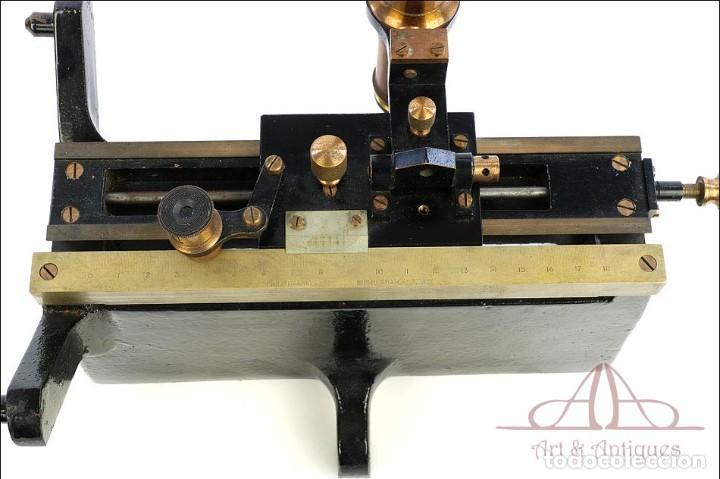 Antigüedades: Antiguo Microscopio Tipo Vernier, Philip Harris. Inglaterra, Circa 1920 - Foto 10 - 223388028