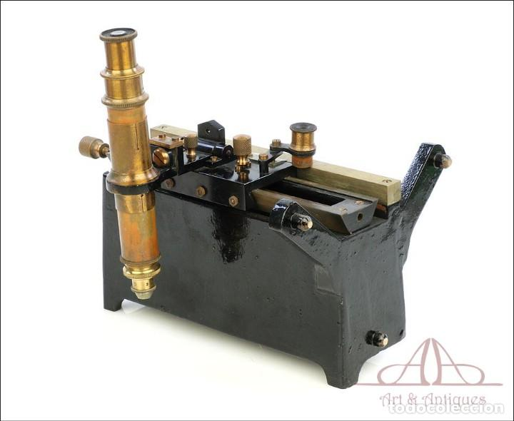 Antigüedades: Antiguo Microscopio Tipo Vernier, Philip Harris. Inglaterra, Circa 1920 - Foto 12 - 223388028