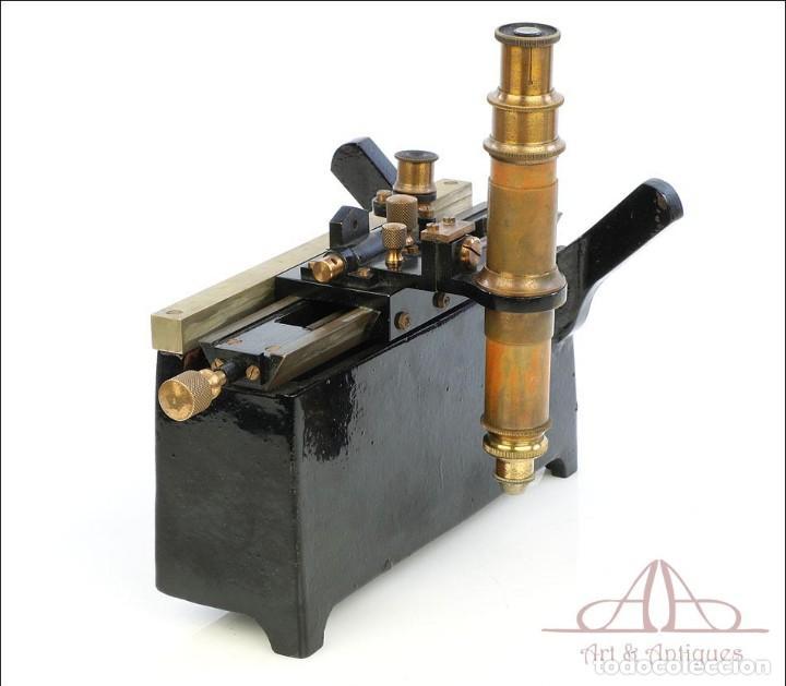Antigüedades: Antiguo Microscopio Tipo Vernier, Philip Harris. Inglaterra, Circa 1920 - Foto 13 - 223388028